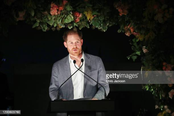 Prince Harry, Duke of Sussex makes a speech as Sentebale held an event on January 19 hosted by Mr & Mrs Caring on behalf of The Caring Foundation, to...