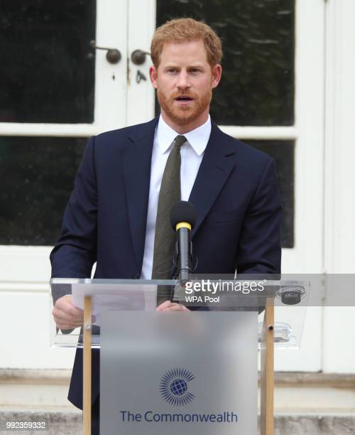 Prince Harry Duke of Sussex makes a speech during the Your Commonwealth Youth Challenge reception at Marlborough House on July 05 2018 in London...