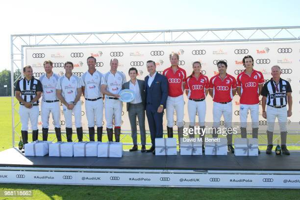 Prince Harry Duke of Sussex Malcolm Borwick JP Clarkin and Prince William Duke of Cambridge of Team Audi etron Tom Holland Andrew Doyle and Chris...