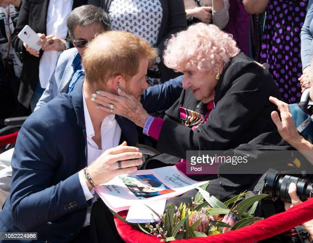 Prince Harry Duke of Sussex meets 98 year old Daphne Dunne during a meet and greet at the Sydney Opera House on October 16 2018 in Sydney Australia...
