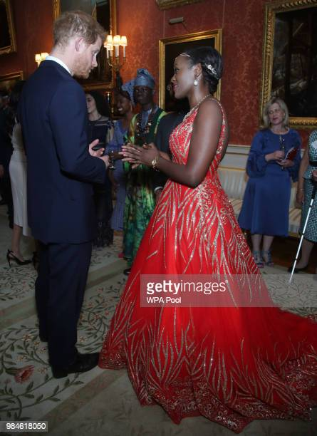 Prince Harry Duke of Sussex meets group of leaders during the Queen's Young Leaders Awards Ceremony at Buckingham Palace on June 26 2018 in London...