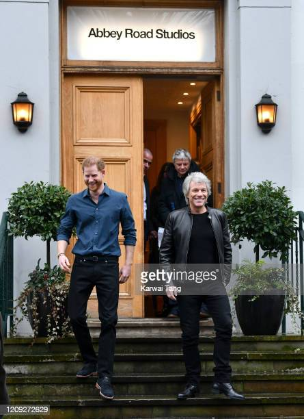 Prince Harry Duke of Sussex meets Jon Bon Jovi and members of the Invictus Games Choir at Abbey Road Studios on February 28 2020 in London England