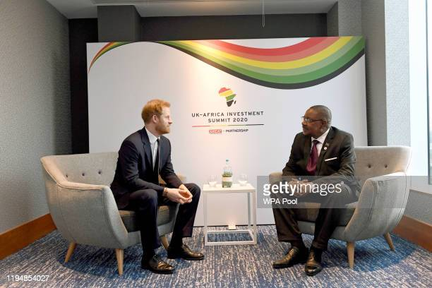 Prince Harry, Duke of Sussex meets President of Malawi Arthur Peter Mutharika during the UK-Africa Investment Summit at the Intercontinental Hotel on...