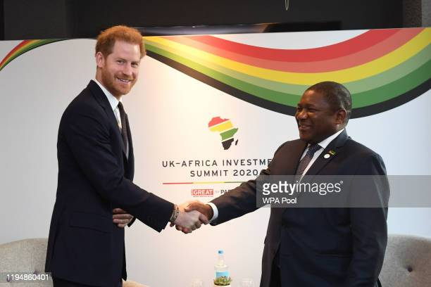 Prince Harry, Duke of Sussex meets President of Mozambique Filipe Nyusi during the UK-Africa Investment Summit at the Intercontinental Hotel on...