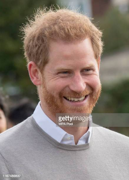 Prince Harry Duke of Sussex meets pupils during his visit to The Rugby Football Union All Schools Programme at Lealands High School on September 12...