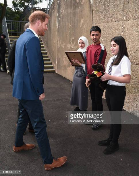 Prince Harry, Duke of Sussex meets students during his visit to Nottingham Academy to mark World Mental Health Day on October 10, 2019 in Nottingham,...
