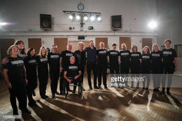 Prince Harry, Duke of Sussex meets with Jon Bon Jovi and members of the Invictus Games Choir at Abbey Road Studios, where a single has been recorded...