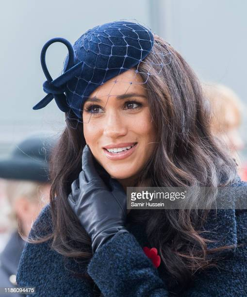 Prince Harry, Duke of Sussex, Meghan, Duchess of Sussex and Camilla, Duchess of Cornwall attend the 91st Field of Remembrance at Westminster Abbey on...