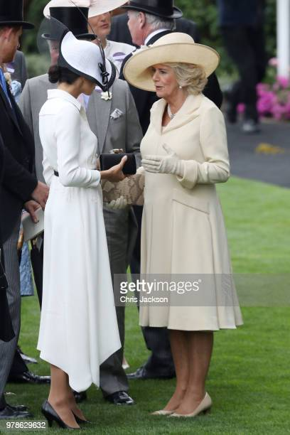 Prince Harry Duke of Sussex Meghan Duchess of Sussex and Camilla Duchess of Cornwall attend Royal Ascot Day 1 at Ascot Racecourse on June 19 2018 in...