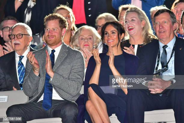 Prince Harry Duke of Sussex Meghan Duchess of Sussex and Chair of the Invictus Games Lieutenant General Peter Leahy AC attend the Invictus Games...