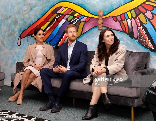 Prince Harry, Duke of Sussex, Meghan, Duchess of Sussex and New Zealand Prime Minister Jacinda Ardern attend Pillars, a charity operating across New...