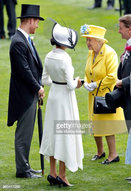 Prince Harry, Duke of Sussex, Meghan, Duchess of Sussex and Queen Elizabeth II attend day 1 of Royal Ascot at Ascot Racecourse on June 19, 2018 in...