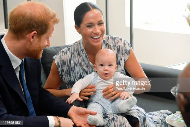 Prince Harry, Duke of Sussex, Meghan, Duchess of Sussex and their baby son Archie Mountbatten-Windsor meet Archbishop Desmond Tutu and his daughter...