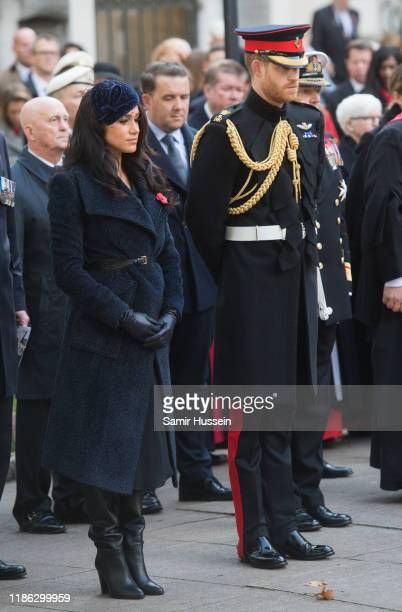 Prince Harry, Duke of Sussex, Meghan, Duchess of Sussex attend the 91st Field of Remembrance at Westminster Abbey on November 07, 2019 in London,...