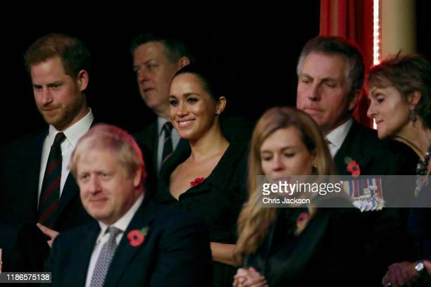 Prince Harry Duke of Sussex Meghan Duchess of Sussex Prime Minister Boris Johnson and Carrie Symonds attend the annual Royal British Legion Festival...