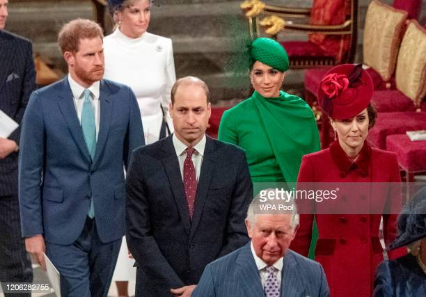 Prince Harry Duke of Sussex Meghan Duchess of Sussex Prince William Duke of Cambridge Catherine Duchess of Cambridge and Prince Charles Prince of...