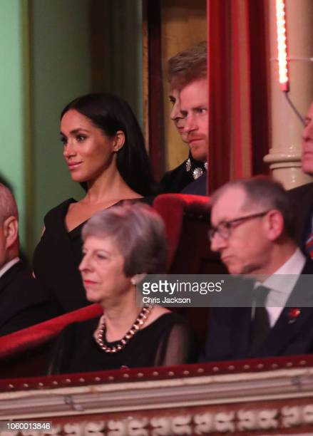 Prince Harry Duke of Sussex Meghan Duchess of Sussex with Prime Minister Theresa May and husband Philip May attend the Royal British Legion Festival...