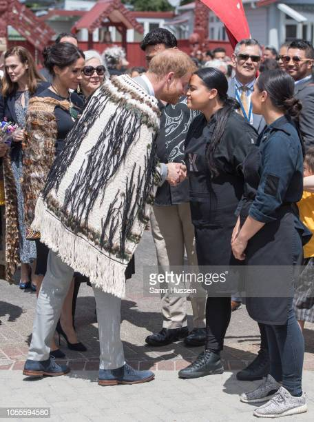 Prince Harry, Duke of Sussex peforms a hongi as he visits Te Papaiouru Marae for a formal powhiri and luncheon on October 31, 2018 in Rotorua, New...