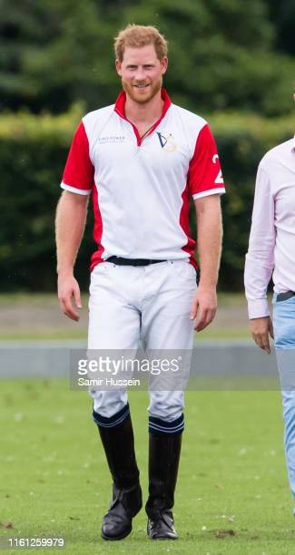 Prince Harry, Duke of Sussex plays during The King Power Royal Charity Polo Day at Billingbear Polo Club on July 10, 2019 in Wokingham, England.