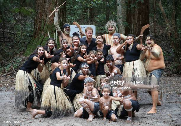Prince Harry, Duke of Sussex posing for group photograph with tribe of K'gari in the Queens Calopy on October 22, 2018 in Fraser Island, Australia....
