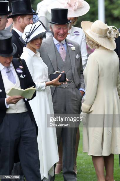 Prince Harry Duke of Sussex Prince Charles Prince of Wales Meghan Duchess of Sussex and Camilla Duchess of Cornwall attend Royal Ascot Day 1 at Ascot...