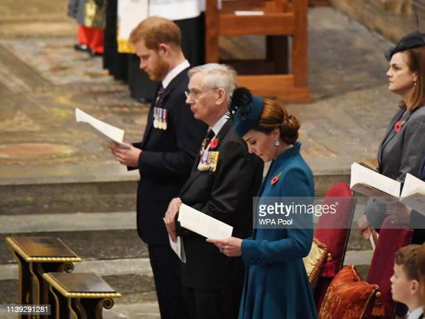 Prince Harry Duke of Sussex Prince Richard Duke of Gloucester and Catherine Duchess of Cambridge attend the ANZAC Day Service of Commemoration and...