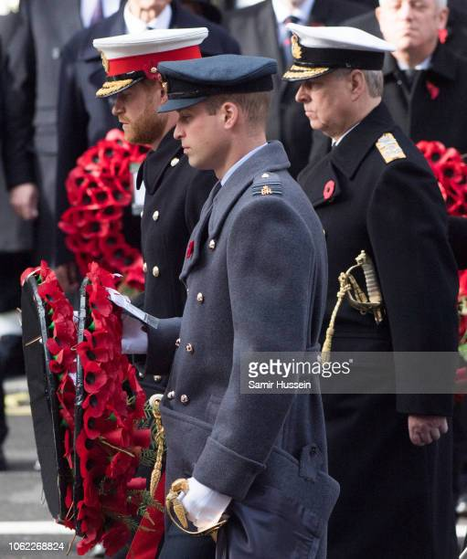 Prince Harry, Duke of Sussex, Prince William, Duke of Cambridge and Prince Andrew, Duke of York during the annual Remembrance Sunday memorial on...