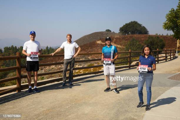 Prince Harry, Duke of Sussex shows his support for the 2020 Virgin Money London Marathon from Los Angeles on October 03, 2020 in Los Angeles, United...