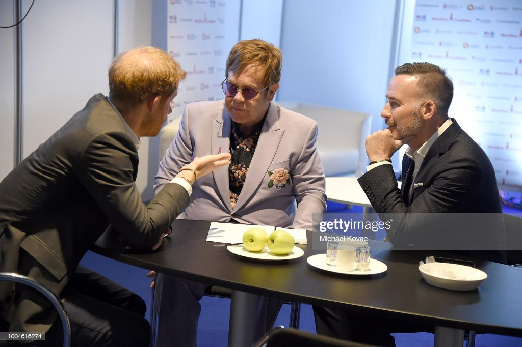 Prince Harry, Duke of Sussex, Sir Elton John, and David Furnish attend the Launch of the Menstar Coalition To Promote HIV Testing & Treatment of Men on July 24, 2018 in Amsterdam, Netherlands.