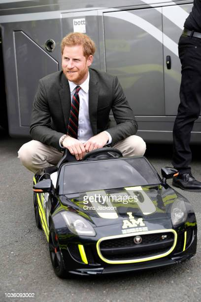 Prince Harry Duke of Sussex seen fiddling with his wedding ring as he visits The Royal Marines Commando Training Centre on September 13 2018 in...