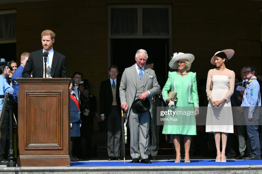Prince Harry, Duke of Sussex speaks as Prince Charles, Prince of Wales, Camilla, Duchess of Cornwall and Meghan, Duchess of Sussex listen during The Prince of Wales' 70th Birthday Patronage Celebration held at Buckingham Palace on May 22, 2018 in London, England.