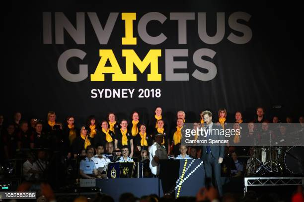 Prince Harry, Duke of Sussex, speaks during the Invictus Games Sydney 2018 Opening Ceremony at Sydney Opera House on October 20, 2018 in Sydney,...