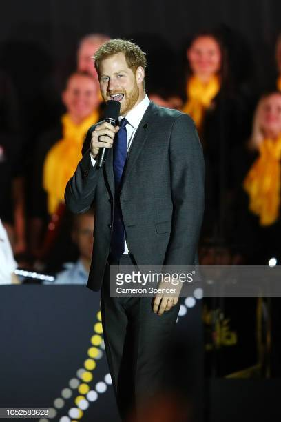 Prince Harry Duke of Sussex speaks during the Invictus Games Sydney 2018 Opening Ceremony at Sydney Opera House on October 20 2018 in Sydney Australia