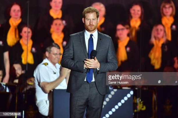 Prince Harry Duke of Sussex speaks on stage at the Invictus Games Opening Ceremony on October 20 2018 in Sydney Australia The Duke and Duchess of...