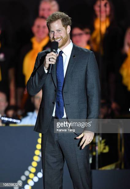 Prince Harry Duke of Sussex speaks on stage at the Invictus Games Opening Ceremony at the Sydney Opera House on October 20 2018 in Sydney Australia...