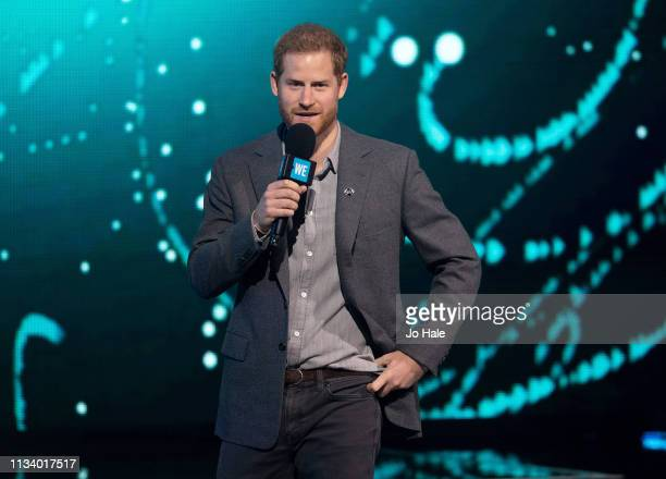 Prince Harry Duke of Sussex speaks on stage at We Day UK at SSE Arena Wembley on March 06 2019 in London England
