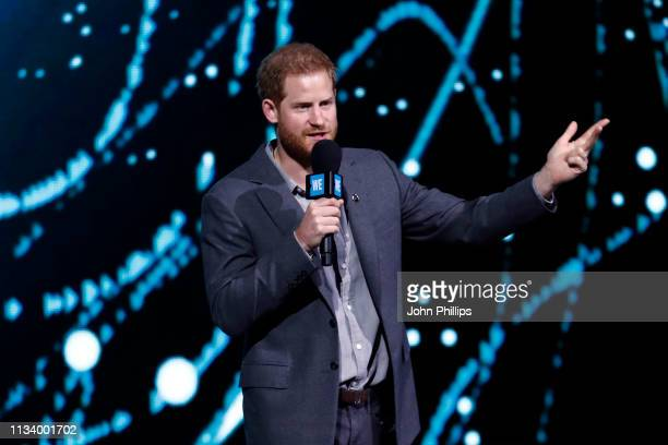 Prince Harry Duke of Sussex speaks on stage during WE Day UK 2019 at The SSE Arena on March 06 2019 in London England