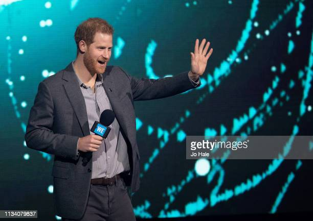 Prince Harry Duke of Sussex speaks onstage at We Day UK at SSE Arena Wembley on March 06 2019 in London England