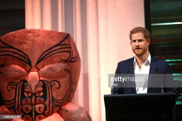 Prince Harry Duke of Sussex speaks to guests as he attend the Auckland War Memorial Museum for a reception hosted by Prime Minister Jacinda Ardern on...
