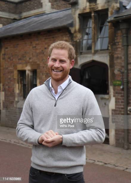 Prince Harry Duke of Sussex speaks to the media at Windsor Castle following the birth of his son on May 06 2019 in Windsor United Kingdom Meghan...