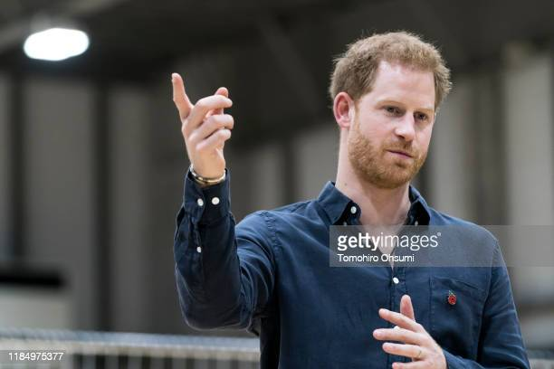 Prince Harry Duke of Sussex speaks to wheelchair rugby athletes as he visits the Nippon Foundation Para Arena on November 02 2019 in Tokyo Japan...