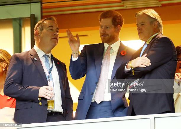 Prince Harry Duke of Sussex speaks with Brett Gosper Chief Executive Officer of World Rugby prior to the Rugby World Cup 2019 Final between England...