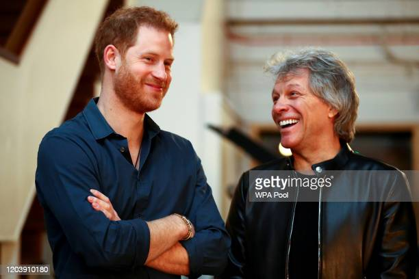 Prince Harry, Duke of Sussex speaks with Jon Bon Jovi at Abbey Road Studios, where a single has been recorded for the Invictus Games Foundation on...