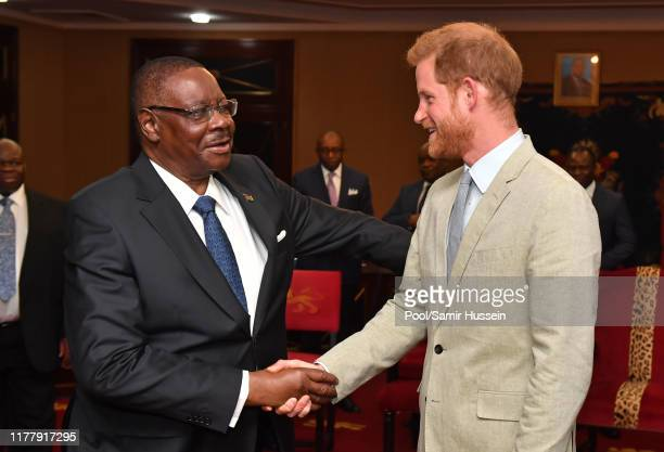 Prince Harry Duke of Sussex Sussex meets with Professor Arthur Peter Mutharika President of the Republic of Malawi at the State House on day seven of...