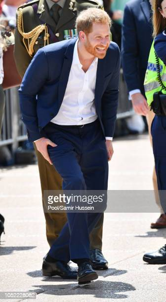 Prince Harry Duke of Sussex takes part in a public walkabout at the Sydney Opera House on October 16 2018 in Sydney Australia The Duke and Duchess of...