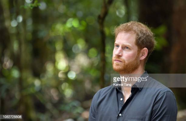 Prince Harry, Duke of Sussex takes part in a traditional Welcome to Country Smoking Ceremony and unveil a plaque for the dedication of the Forests of...
