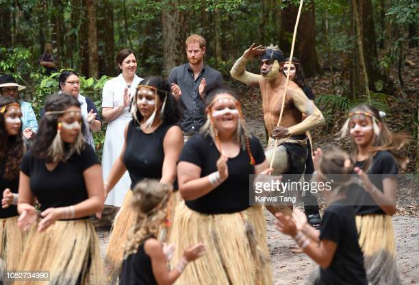 Prince Harry Duke of Sussex takes part in a traditional Welcome to Country Smoking Ceremony and unveil a plaque for the dedication of the Forests of...
