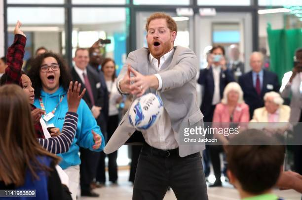Prince Harry Duke of Sussex takes part in activities as he attends the official opening of the Barking Dagenham Future Youth Zone on April 11 2019 in...