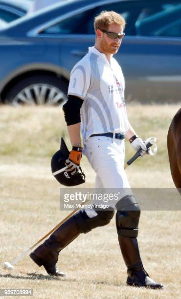 Prince Harry Duke of Sussex takes part in the Audi Polo Challenge at Coworth Park Polo Club on June 30 2018 in Ascot England