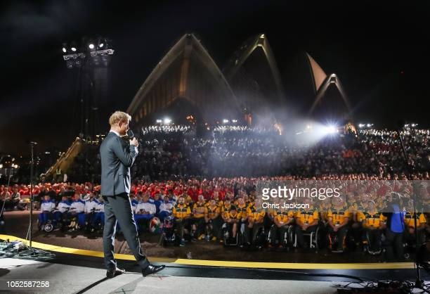 Prince Harry Duke of Sussex talking on stage during the Invictus Games Sydney 2018 Opening Ceremony at Sydney Opera House on October 20 2018 in...